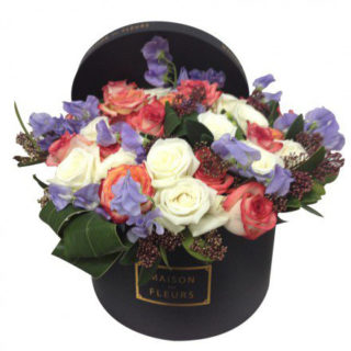 Букет роз, Белые розы, персиковые розы, Maison des Fleurs