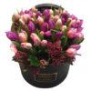 Букет тюльпанов, розовые тюльпаны, фиолетовые тюльпаны, Maison des Fleurs