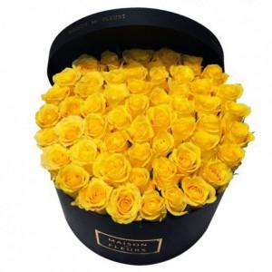 Букет желтых роз в коробке