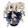 Белые гортензии, синие гортензии, орхидея, Maison des Fleurs, цветы в коробке