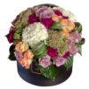 Фиолетовые розы, персиковые розы, гортензия, Maison des Fleurs, цветы в коробке