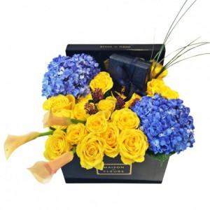 Букет желтых роз, гортензии, Maison des Fleurs, цветы в коробке