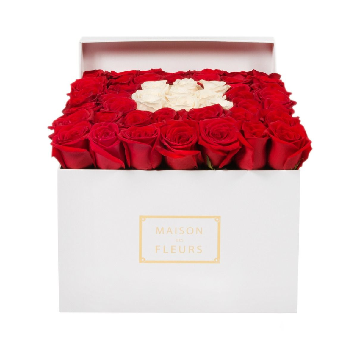Красные розы с кремовыми