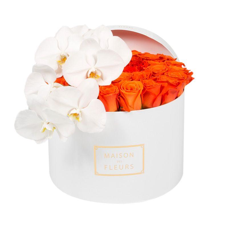 Оранжевые розы, круглая коробка, белая орхидея, Maison des Fleurs
