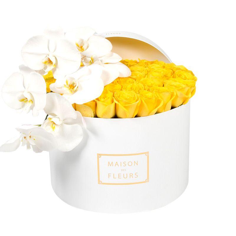 Желтые розы, белые орхидеи, Maison des fleurs
