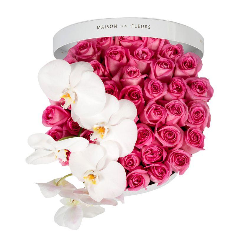 Розовые розы, белая орхидея, Maison des Fleurs, цветы в коробке