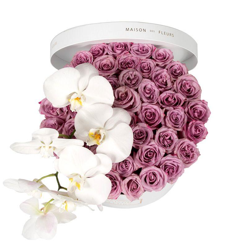 Фиолетовые розы, белые орхидеи, maison des Fleurs, круглая коробка